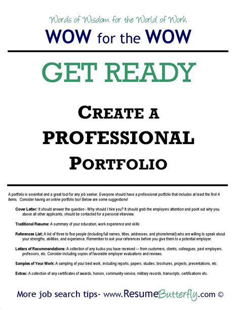 how to create a professional job search portfolio resume