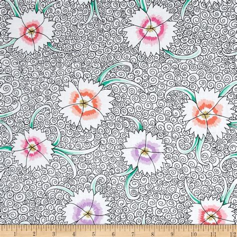 Kaffe Fassett Home Decor Fabric by Kaffe Fassett Dianthus White Discount Designer Fabric