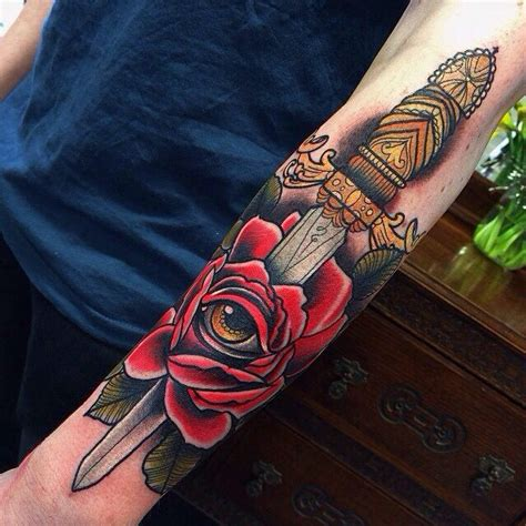 rose and dagger tattoo inkspiration pinterest ink