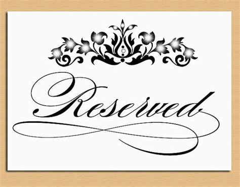reserved cards for tables templates reserved table sign wedding and event signage printable
