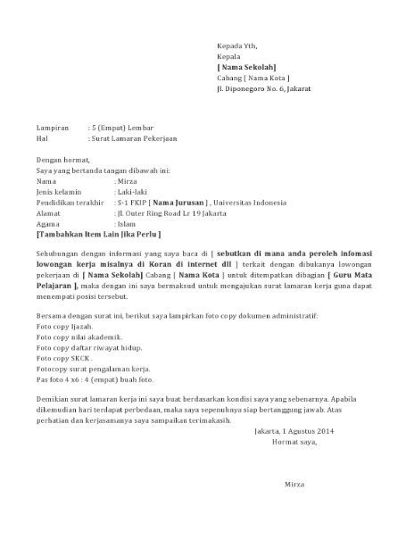 format biodata untuk melamar pekerjaan contoh surat lamaran kerja guru yang baik dan benar lengkap