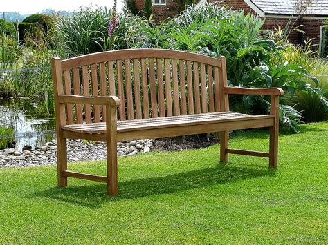 bench landscape winchester single oval back teak garden bench 180cm