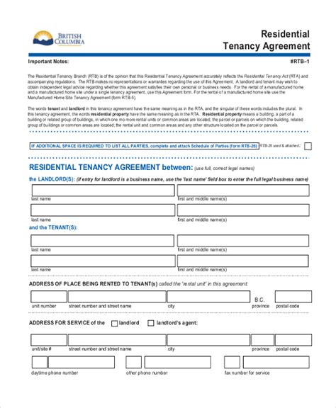 Agreement Letter Between Landlord And Tenant Sle Standard Lease Agreement Form 9 Free Documents In Pdf