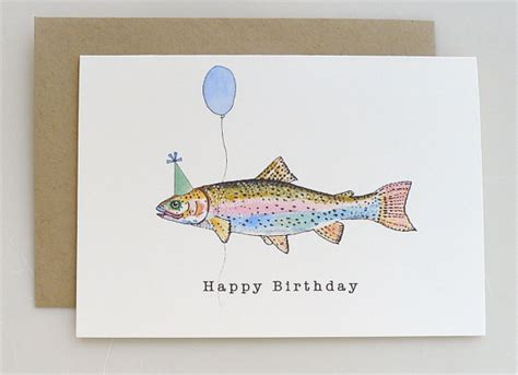 printable birthday cards fishing trout birthday card party hat balloon happy birthday