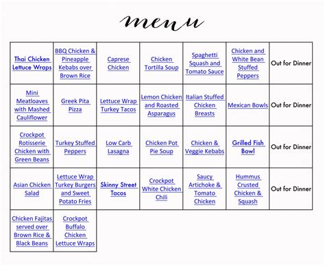 printable grocery list with menu healthy menu grocery list 187 jenny collier blog