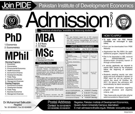 Mba Admission In Islamabad 2017 by Pide Islamabad Admission 2017 Form Entry Test Date