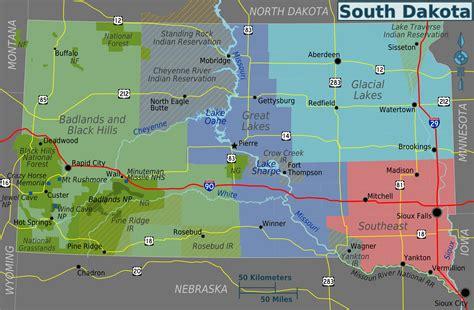 physical map of dakota south dakota regions map mapsof net