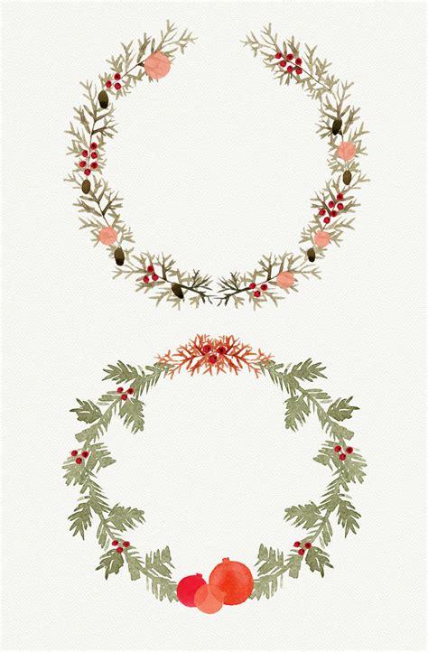 watercolor christmas wreath illustrations 2 decor