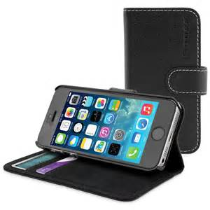 snugg iphone 5s flip case cover in black leather available