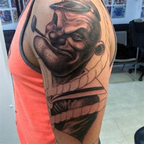popeye arm tattoo 70 popeye tattoo designs for men spinach and sailor ideas