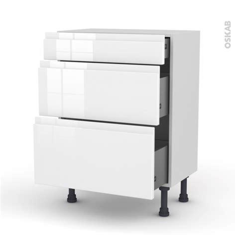 meuble de cuisine blanc brillant meuble de cuisine bas ipoma blanc brillant 3 tiroirs l60 x