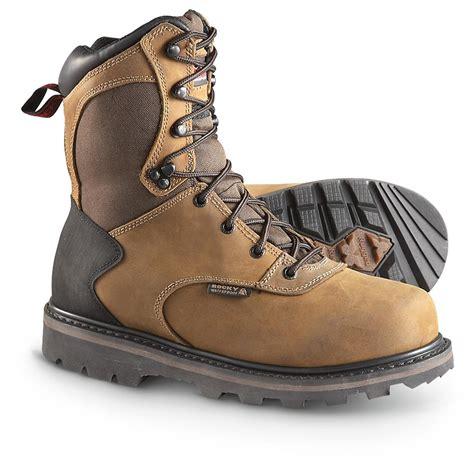 s rocky 174 8 quot waterproof work boots brown 292197