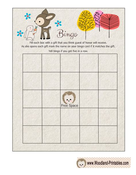 Bingo For Baby Shower Free Printable by Free Printable Woodland Baby Shower Bingo Free