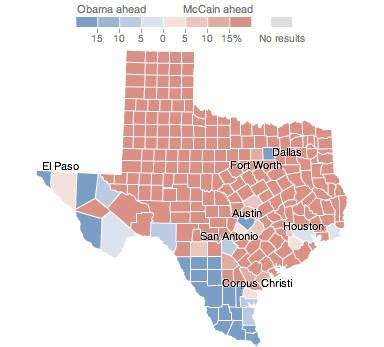 texas voting map texas election results 2008 the new york times