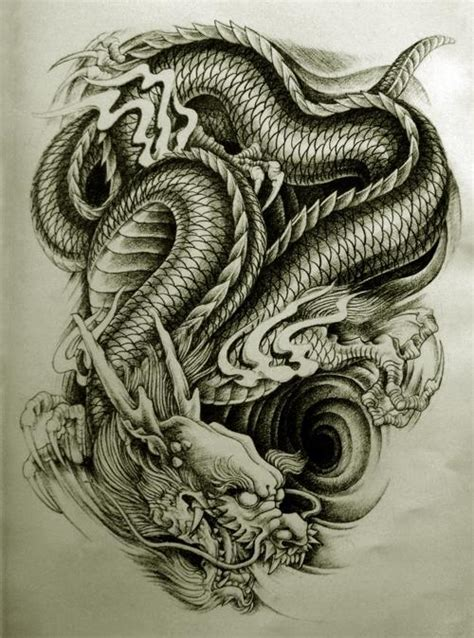 awesome black ink dragon tattoo design for men