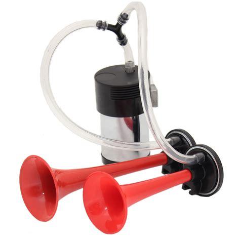RED 12V CAR/VAN/TRUCK AIR HORNS DUAL TRUMPET HORN WITH COMPRESSOR TWIN TONE   eBay