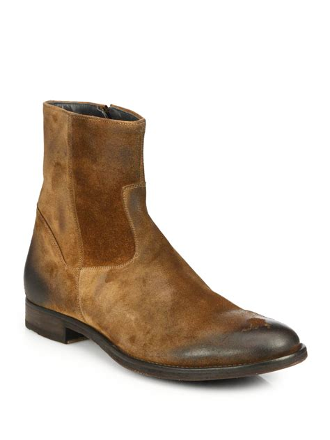 zip up boots to boot greyson suede zip up boots in brown for lyst