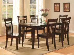 Kitchen Dining Furniture 7 Pc Dinette Kitchen Dining Room Set Table With 6 Chairs In Cappuccino Ebay