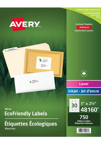 Avery 174 48160 Eco Friendly Address Labels 1 Quot X 2 5 8 Quot Rectangle White Avery 48160 Label Template