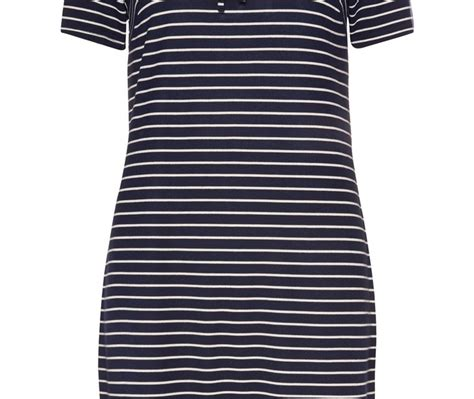 revive your style with this navy stripe tie front dress
