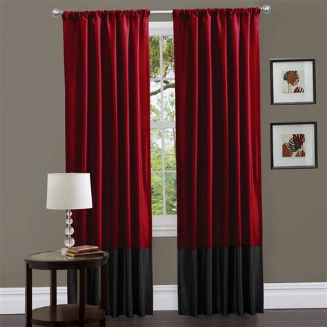 red  gray curtain panels home design ideas