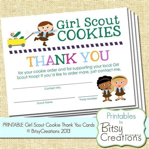 printable thank you cards girl scouts thank you for ordering girl scout cookies brownie girl