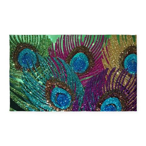 peacock colored area rugs colorful peacock feathers 3 x5 area rug by christyoliver