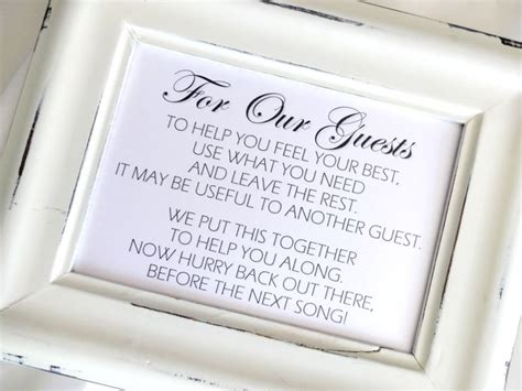 Wedding Bathroom Basket Sign Bathroom Goodies Basket Wedding Sign White Or Ivory