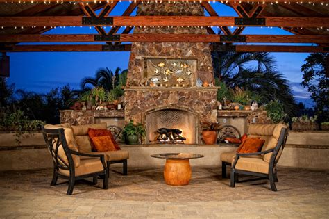 outdoor patio cover  stone fireplace