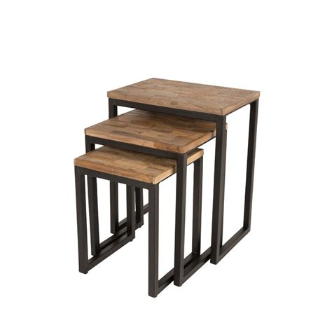 table in html set de 3 tables basses gigognes en teck recycl 233 suri