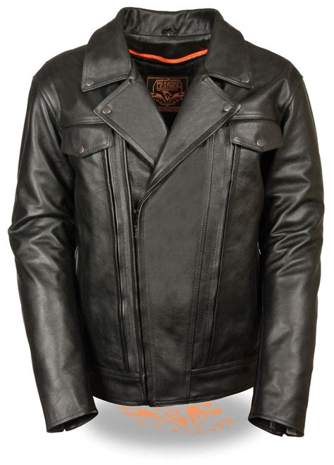 vented leather motorcycle jacket mens black leather vented motorcycle jacket utility pockets