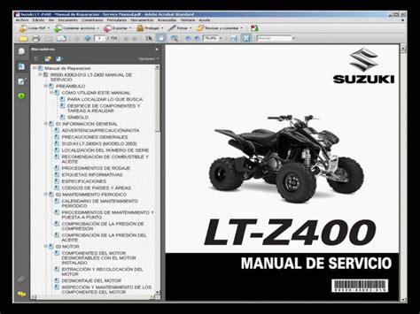 Suzuki Ltz 400 Manual Pdf Suzuki Lt Z400 Manual De Taller Service Manual