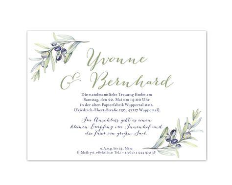 Hochzeitseinladungen Modern by Karte Feier Romantische Hochzeitseinladung Olivenzweig