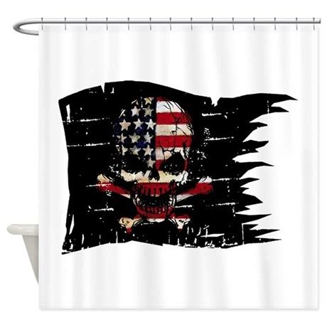 usa shower curtain distressed usa flag skull shower curtain by hotroddintees