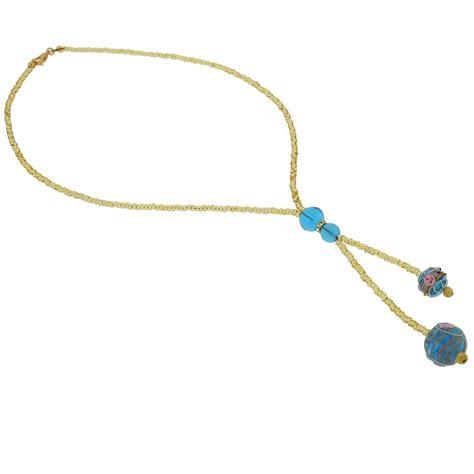 Glass Tie Necklace murano necklaces murano fiorato tie necklace sky blue