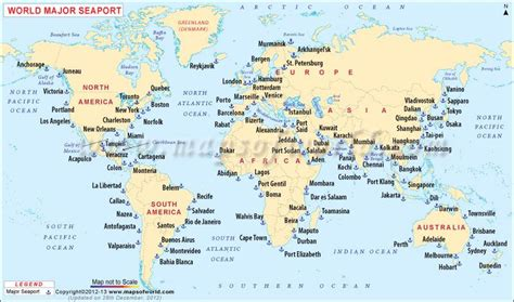 world map of seas and lakes facts on quot world s major sea ports only