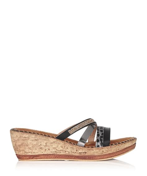 wedge sandals on sale salt pepper black strappy slip on wedge sandals