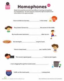 2nd grade homophone worksheets education com