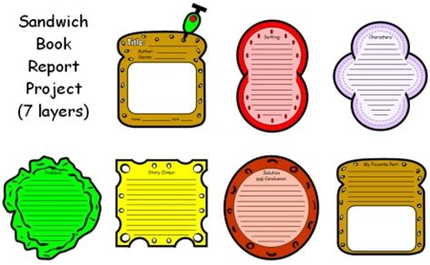 sandwich book report printable template book report projects sandwich ideas and exles