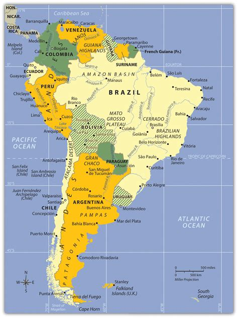 south america physical political map south america