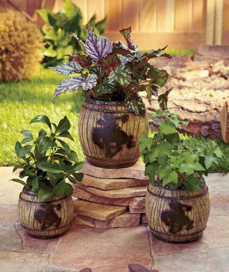 western garden barrel planter pots flower plant country