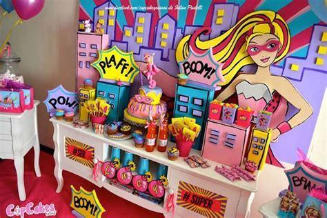 Kara's Party Ideas Sweet Table from a Superhero Barbie