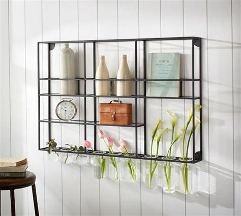 wall shelf unit with glass rack pottery barn