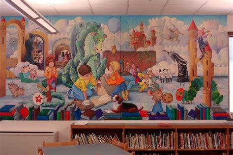 Library Wall Mural elementary library mural bing images school mural