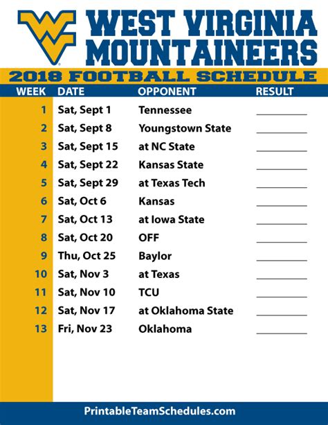 2018 printable west virginia football schedule