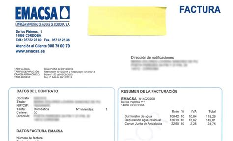 modelos de facturas 2015 emacsa empresa municipal de aguas de c 243 rdoba s a