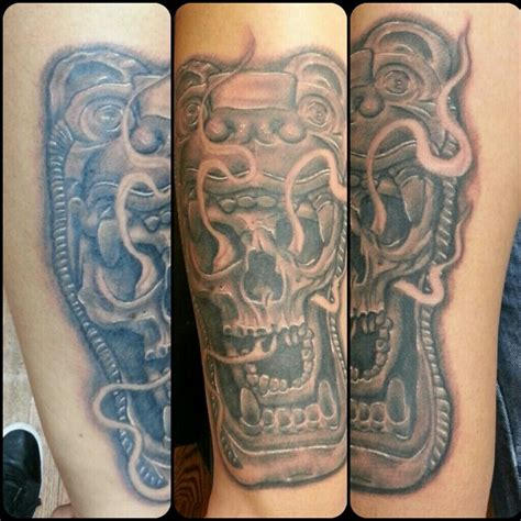 pachuco tattoo custom aztec jaguar skull design done at pachuco