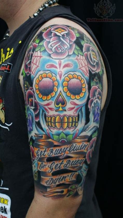 sugar skull tattoo for men half sleeve sugar skull tattoos