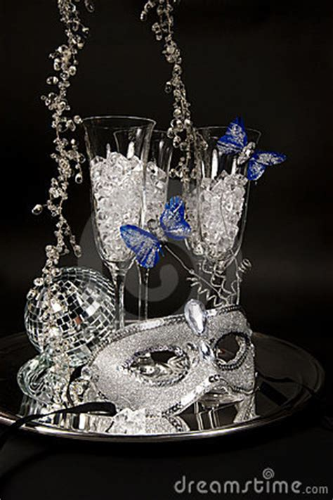 silver mask champagne glasses royalty  stock