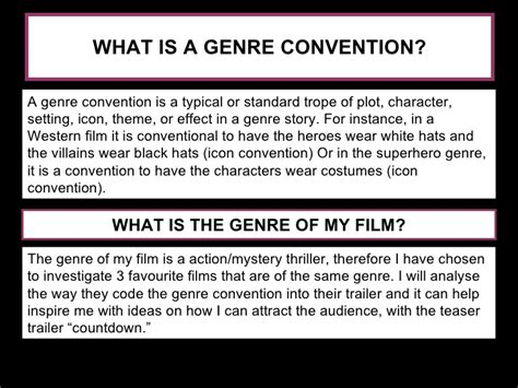 themes and conventions meaning genre conventions film